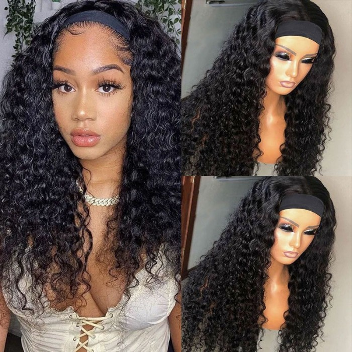 Unice Headband Scarf Wig Water Wave Human Hair Wig No plucking wigs for women No Glue No Sew In More hairstyles Available Bettyou Series