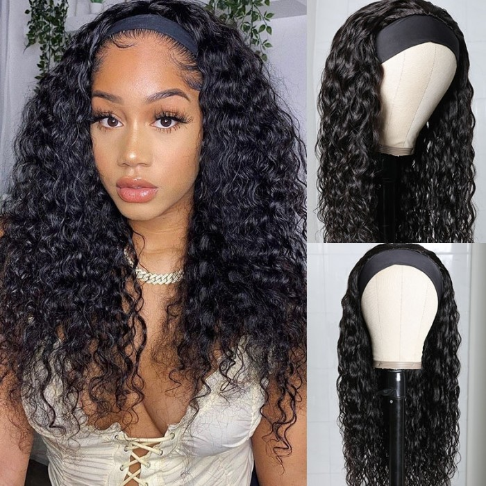 Unice Headband Scarf Wig Water Wave Human Hair Wig No Glue & No Sew In Plus Vip Offer