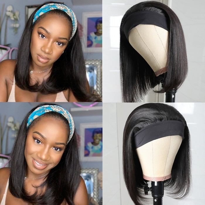 UNice Headband Wigs Short Bob Human Hair Wig for Women Easy Wear Half Wig with Free Headbands Bettyou Series