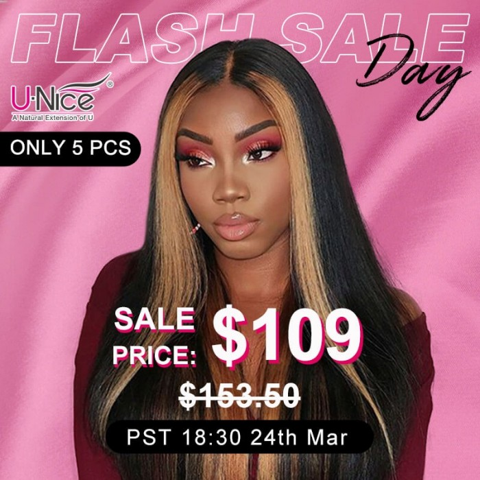 UNice INS Flash Deal Highlight Ombre TL27 Straight Human Hair Lace Part Wigs 150% Density