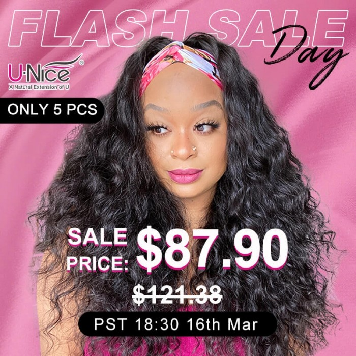 Unice INS Flash Sale Water Wave Headband Wig 150% Density No Glue Needed 18 Inch