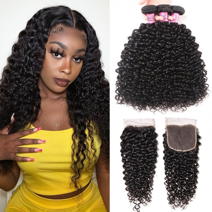 UNice Hair 3 Bundles Jerry Curly Hair Weave With Closure