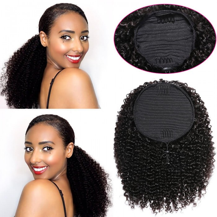 Bonus Buy Hair Afro Kinky Curly Ponytail Human Hair 10-24 Inch Remy Mongolian Drawstring Ponytail 100% Human Hair