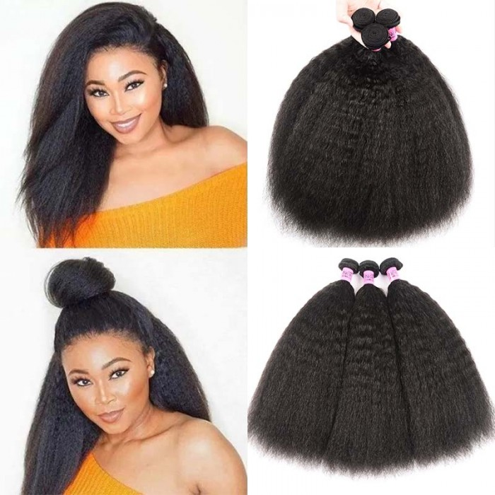 UNice Hair Icenu Series 100% Virgin Kinky Straight Hair Human Hair 3 Bundles