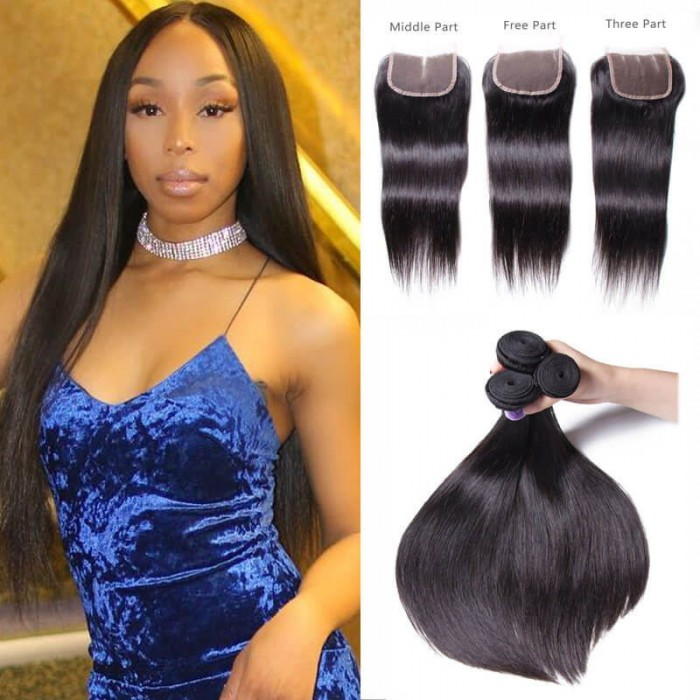 Unice Hair Kysiss Series 100 Malaysian Straight Virgian 3 Bundles With Closure