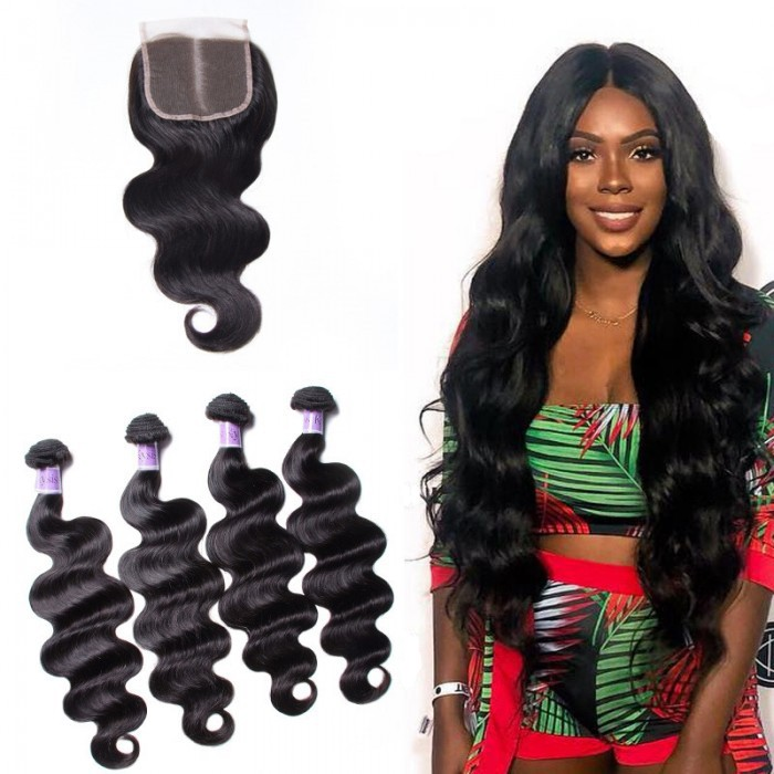 UNice Hair Kysiss Series 4 Bundles Brazilian Virgin Body Wave With Closure