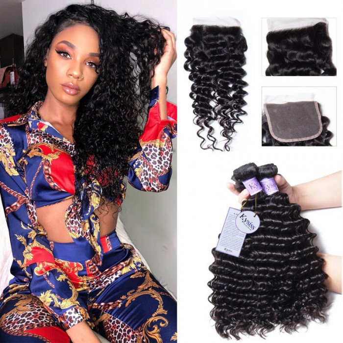 Kysiss Series Good Affordable 4 Bundles Malaysian Deep Wave Hair With Closure