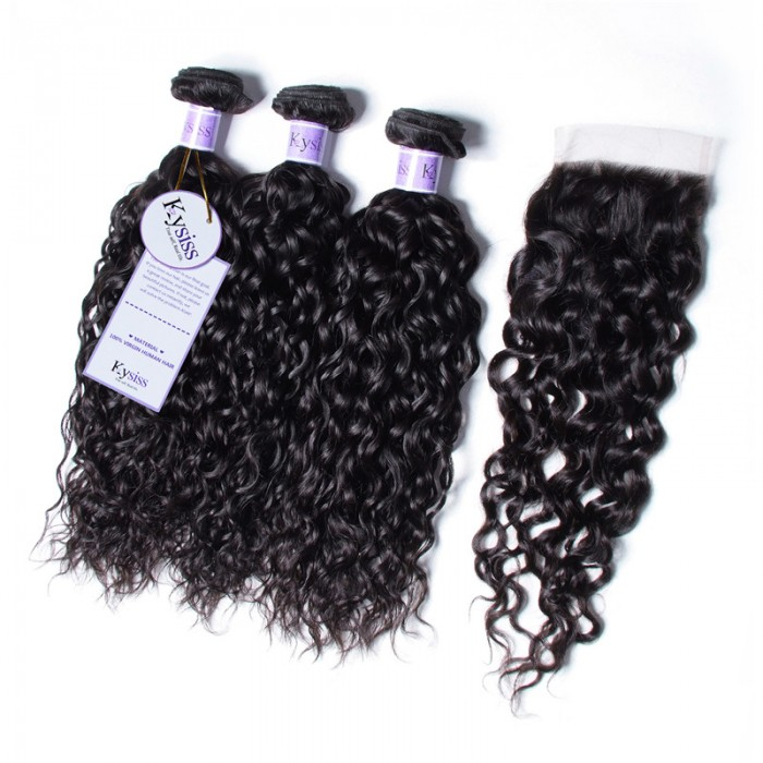 UNice Hair Kysiss Series Indian Water Wave 100% Virgin Human Hair 3 Bundles With 4x4 Lace Closure