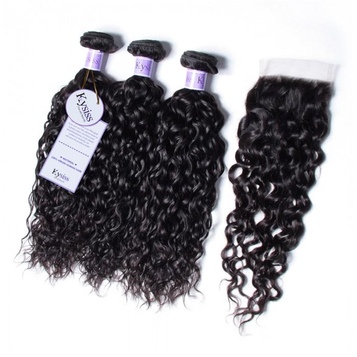 UNice Hair Kysiss Series Indian Water Wave 100% Virgian Human Hair 3 Bundles With 4x4 Lace Closure