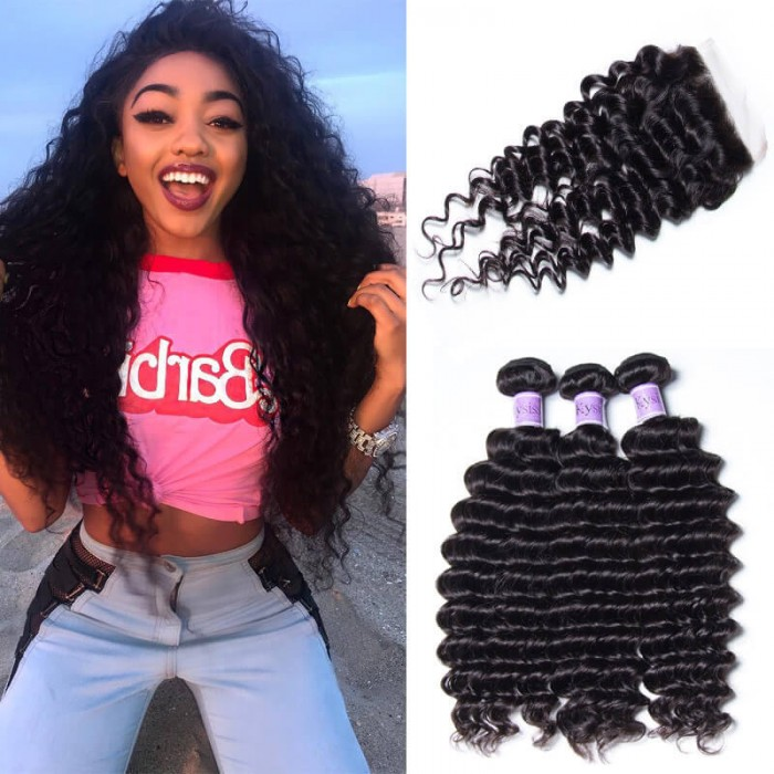 Kysiss Series Malaysian Quality 3pcs Deep Wave Hair With Lace Closure