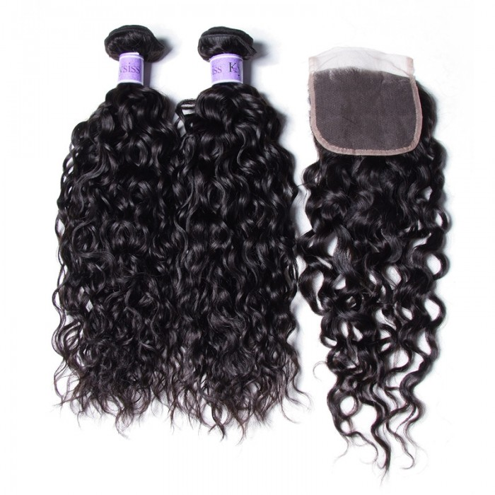 Kysiss Series Brazilian Water Wave 4 Bundles Vrigin Hair Extension With Closure