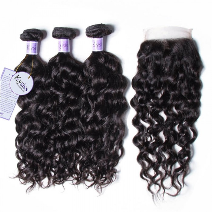 Kysiss Series Quality 3 Bundles 8A Natural Wave Hair With Lace Closure