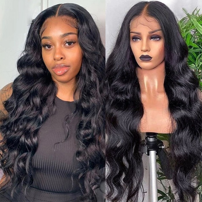 UNice Body Wave Lace Front Wig 150 Density Lace Front Human Hair Wigs T Part Wigs Natural Black Color Bettyou Series