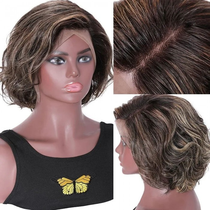 Unice Hair 13x4 Lace Front Human Hair Wig Highlight Wavy Bob 8 Inch Free Part Short Bob Lace Front Wigs for Women Bettyou Series