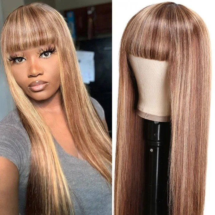 UNice Blonde Highlight Wig Straight Honey Blond Ombre Colored Human Hair Wig With Bangs Machine Made Wigs For African American Women Bettyou Series