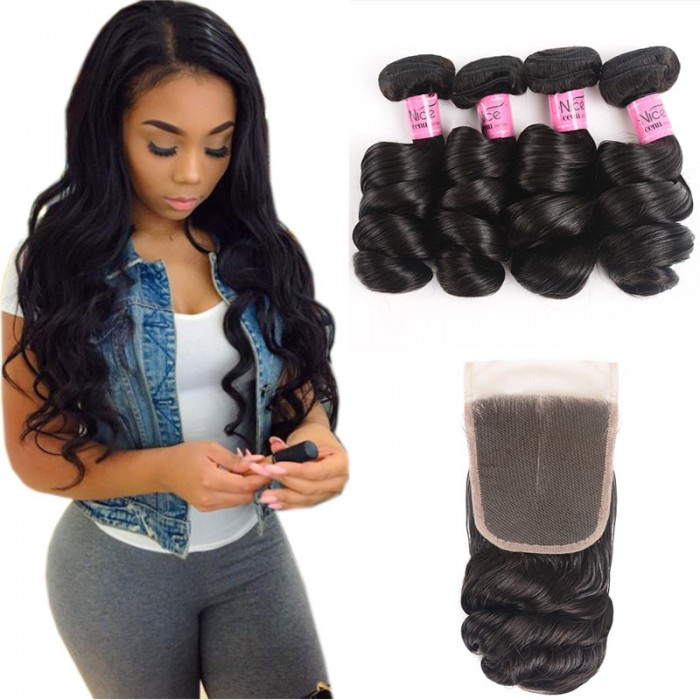 UNice Hair Icenu Series 4 Bundles Loose Wave Hair With Free Part Closure Virgin Human Hair