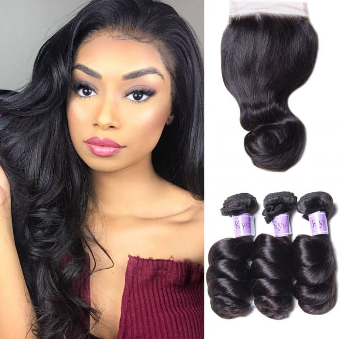 UNice Hair Kysiss Series Malaysian Good Quality 3pcs Loose Wave Hair With Lace Closure