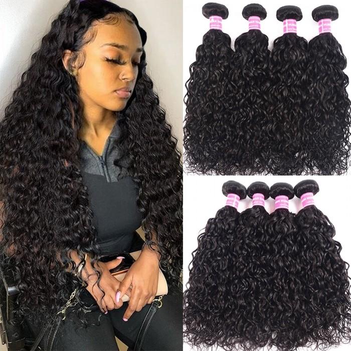 UNice Malaysain Virgin Hair Loose Water Wave Bundles 100% Unprocessed Human Virgin Hair 4 Bundle Natural Black Color Icenu Series