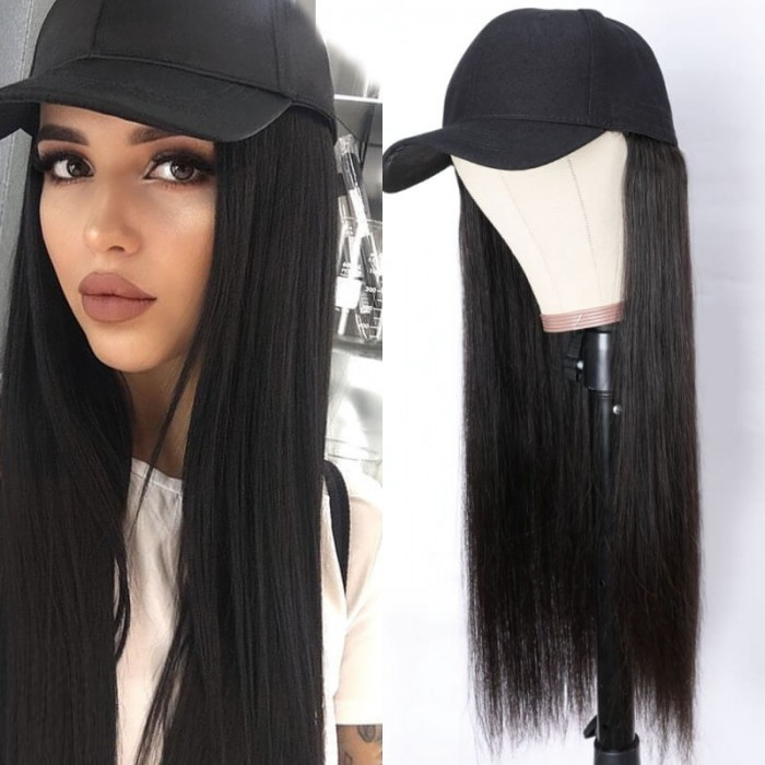 UNice Baseball Cap Wig with Hair Extensions Silky Straight Long Human Hair Wig Hat for Women Adjustable Black Baseball Hat Wig Bettyou Series