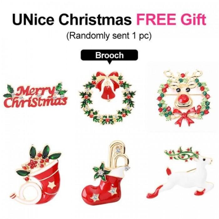 Merry Christmas Sweet Gift: UNice Christmas Crystal Brooches Cartoon Brooch Cute Deer Bells Socks Pin Badges Xmas Present