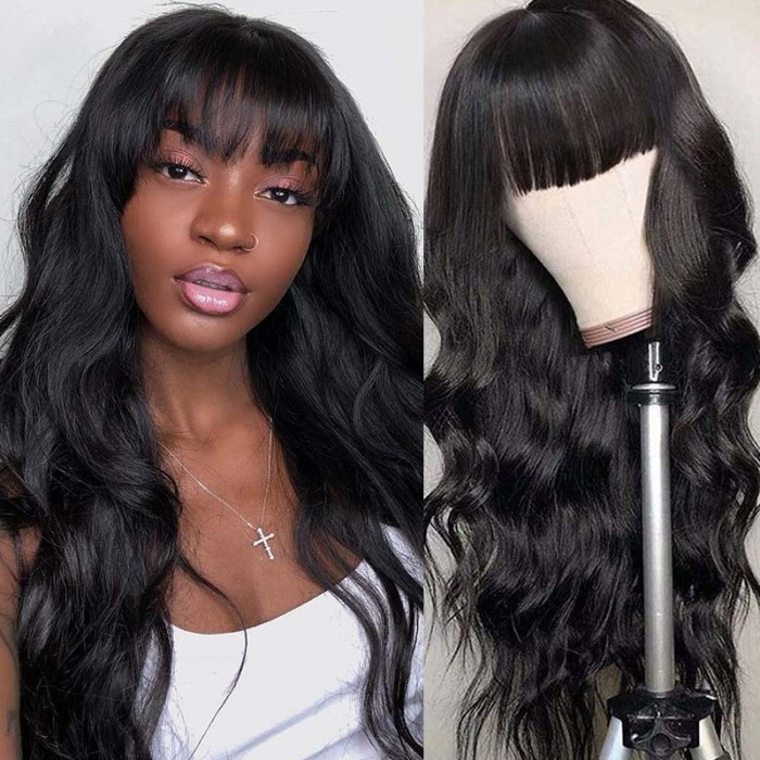 UNice 100% Unprocessed Human Hair Machine Made Wigs Body Wave Hair 150% Density Human Hair Wigs with bangs For Black Women Natural Black