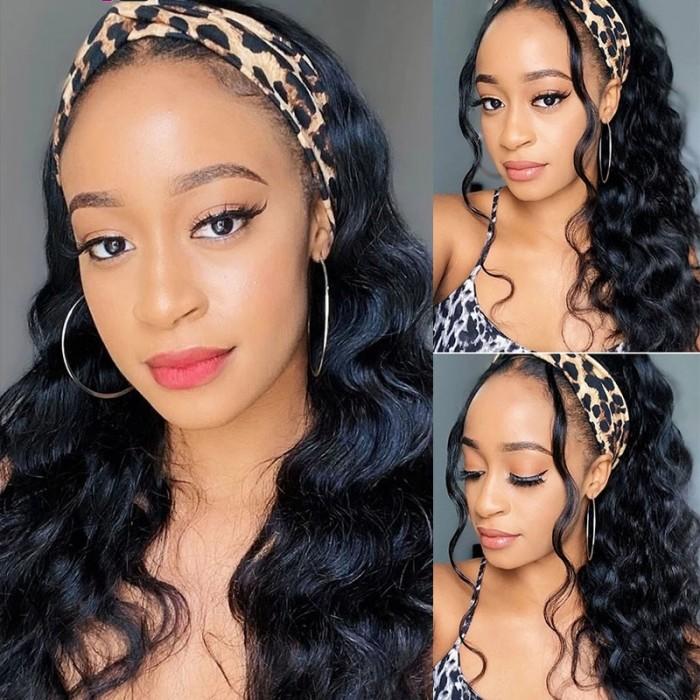 UNice New Headband Wig Body Wave Natural Color Human Virgin Hair Wig Headband Half Wig Bettyou Wig Series