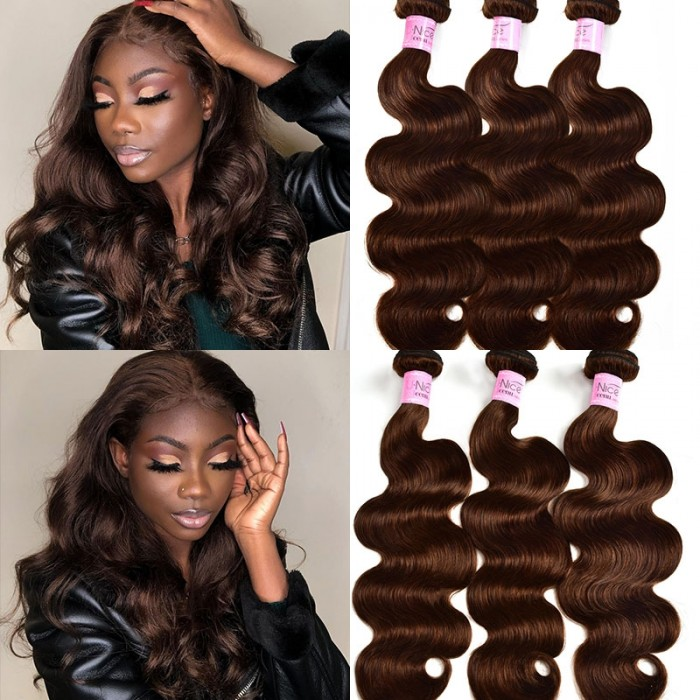 UNice Brown Human Hair Body Wave 3 Bundles #4 Light Brown Color Remy Human Hair Extensions Icenu Series