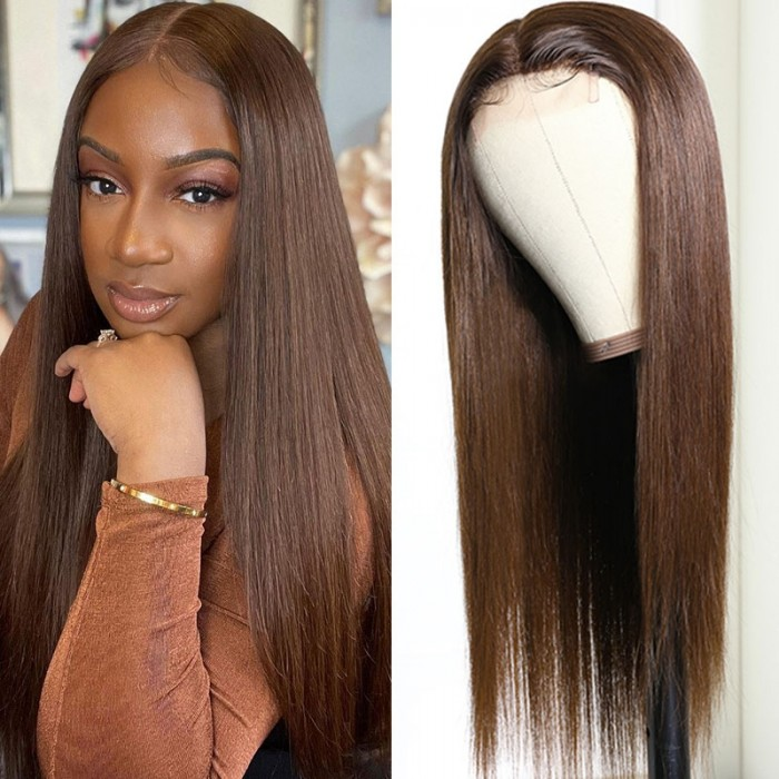 UNice Hair Straight Lace Part Wig Pre Plucked Middle Part 150% Density Upgrade Lace Part Wig Brown Color Bettyou Series