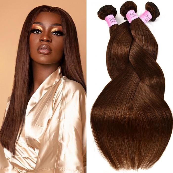 UNice Light Brown Straight Human Hair 3 Bundles Bouncy Virgin Hair Weave #4 Color Icenu Series