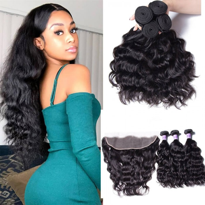 UNice Hair Kysiss Series Natural Wave Human Hair 4 Bundles With Lace Frontal Closure