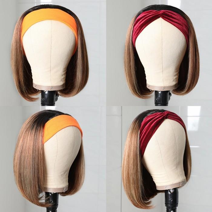 Unice Bob Perruque Bandeau Droit Perruque Courte Ombré Humain Cheveux Perruques Blond Miel 1BTL412 Couleur Bettyou Séries