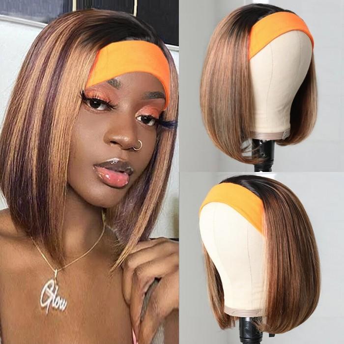 UNice Bob Straight Wig Ombre Headband Wigs Straight Human Hair Wig Dark Rrooted Honey Blonde Wigs 1BTL412 Color Bettyou Series