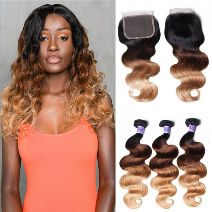 UNice Hair Kysiss Series T1B/4/27 Ombre 3 Bundles Body Wave With Closure 100% Virgin Human Hair