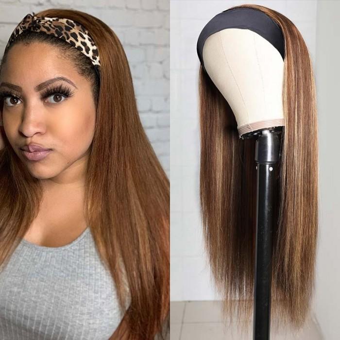 Flash Deal: Ombre TL412 Color Headband 100% Virgin Human Hair Wigs Straight 150% Density | Extra Gifts: 3 Fashion Headbands