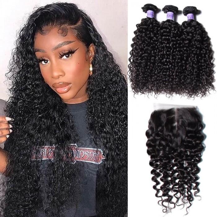 80b5dde30 UNice Peruvian Deep Curly Hair 3 Bundles With Lace Closure- Kysiss ...