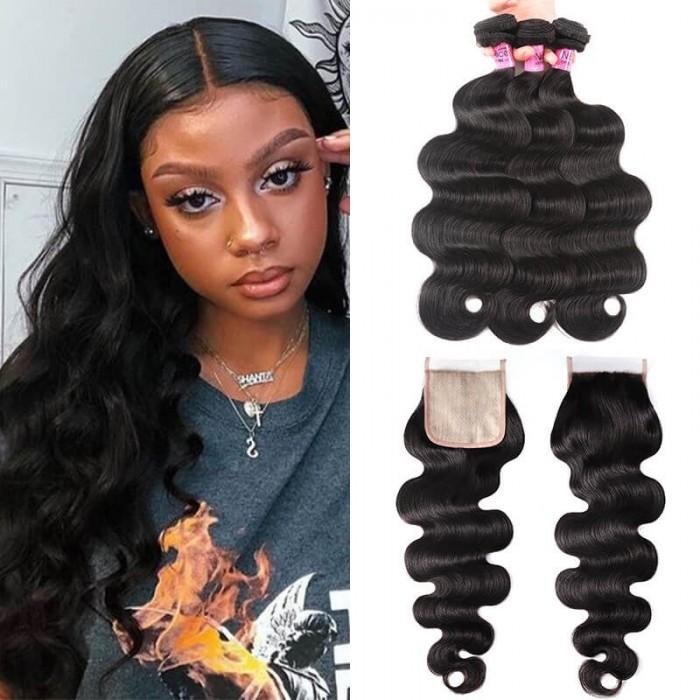 UNice Brazilian Body Wave Hair 3 Bundles With PU Skin Base Closure Pieces 4x4 Human Hair Closure Natural Black