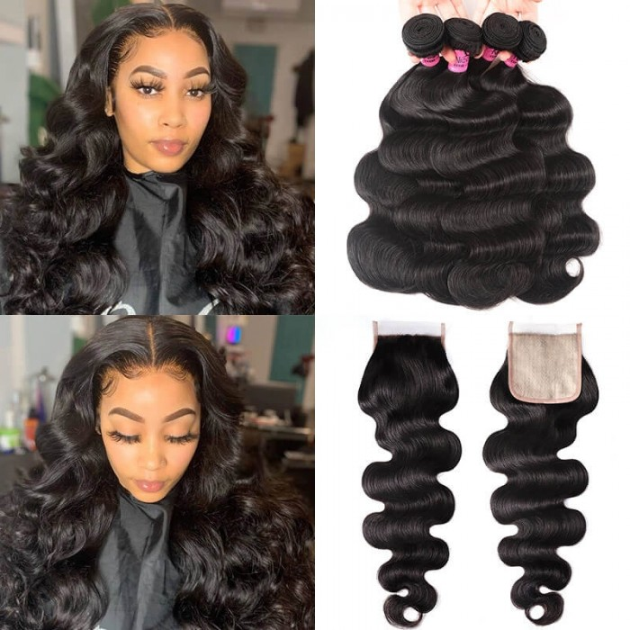 UNice Body Wave Hair 4 Bundles With 4x4 Fake Scalp Closure Virgin Hair Natural Color Online