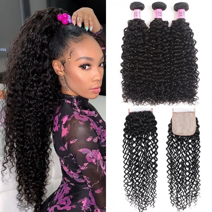 UNice Jerry Curly Hair 3 Bundles with Fake Scalp Pu Closure Free Part Unprocessed Human Hair Natural Black Color