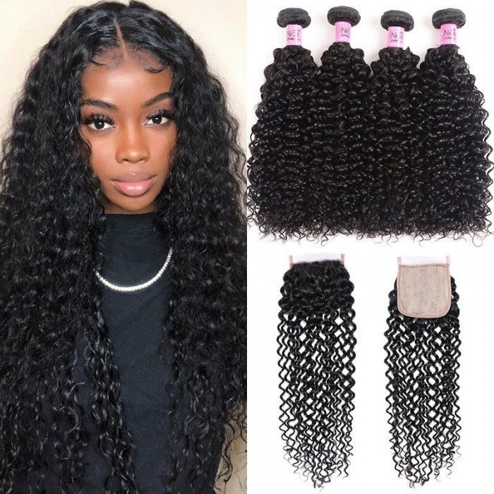 UNice Jerry Curly Human Hair 4 Bundles with 4X4 Pu Scalp Closure Free Part Unprocessed Virgin Hair