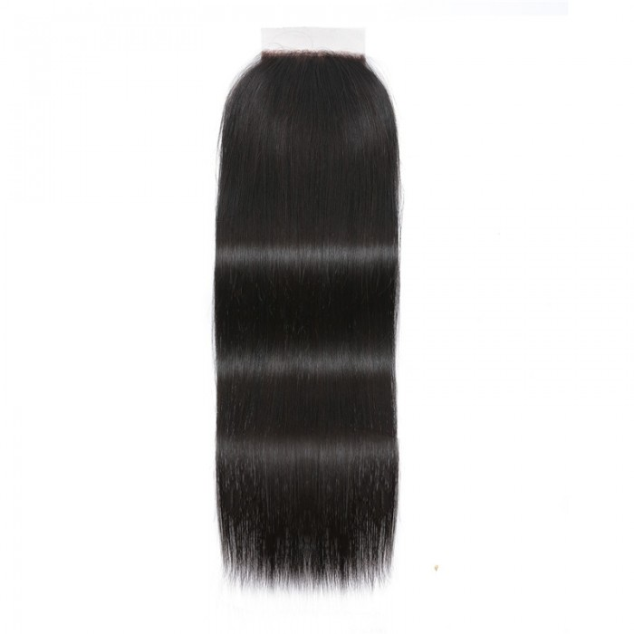 UNice Straight Human Hair Super Thin Skin PU Closure Pieces Natural Black 4x4 Pu Silk Top Closure Free Part Hair Closure On Sale