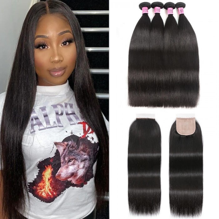 UNice 4 Bundles and Free Part Pu Scalp Closure Straight Virgin Malaysian Hair Natural Black Color