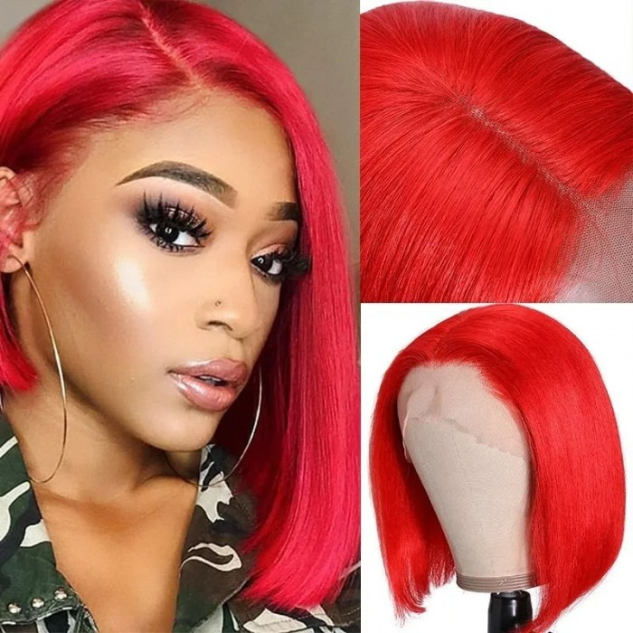 UNice Red Orange Short Lace Front Human Hair Wigs 150% Density 13x4 Straight Bob Wig Pre-Plucked with Baby Hair Bettyou Series