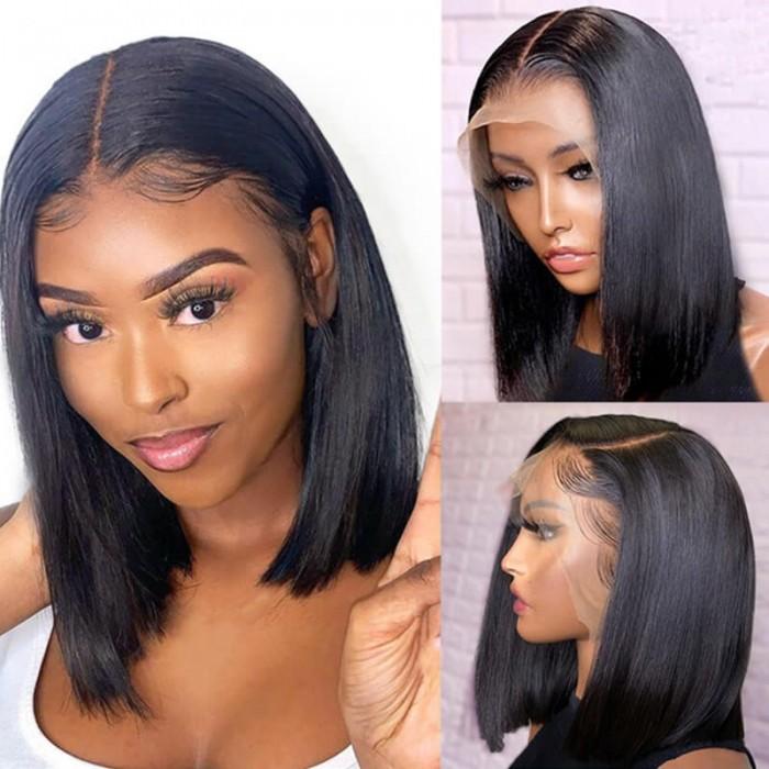 Unice Straight T Part Lace Human Hair Short Black Bob Wig