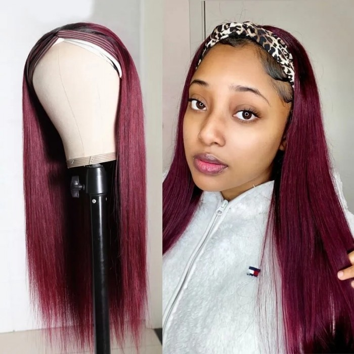 UNice Ombre 99j Wine Red Color Straight Human Hair Headband Wig With Black Roots for Women Bettyou Series