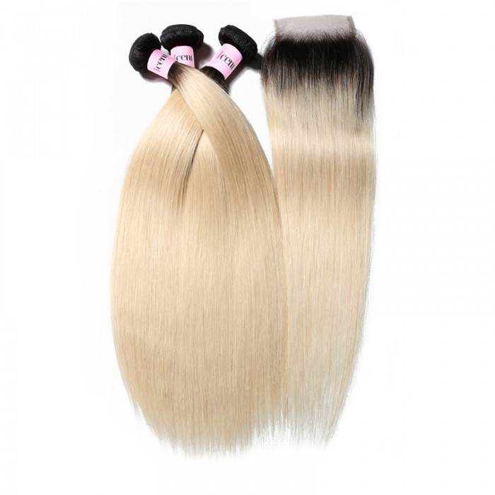 UNice Straight Hair 3 Bundles T1b/613 Color Ombre Hair  With closure