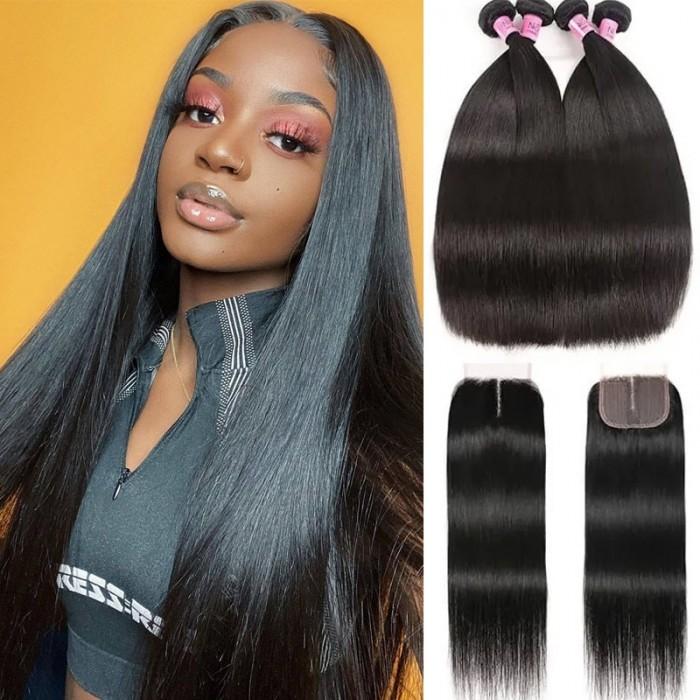 UNice Straight Hair 4 Bundles with T Part Lace Closure Middle Part Closure,Natural Black 100% Virgin Hair