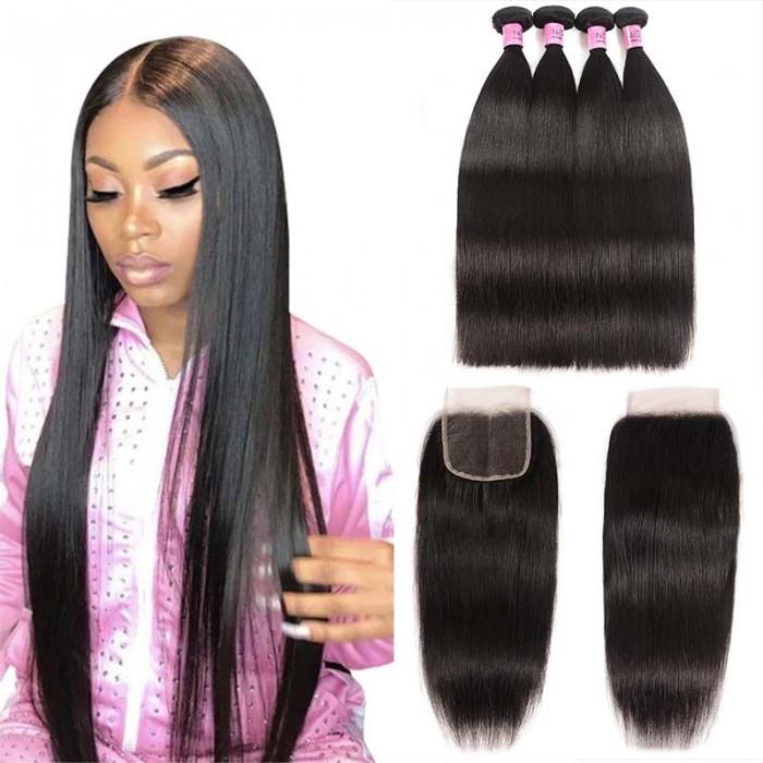 UNice Hair Icenu Series 4 Bundles Straight Virgin Hair With Lace Closure