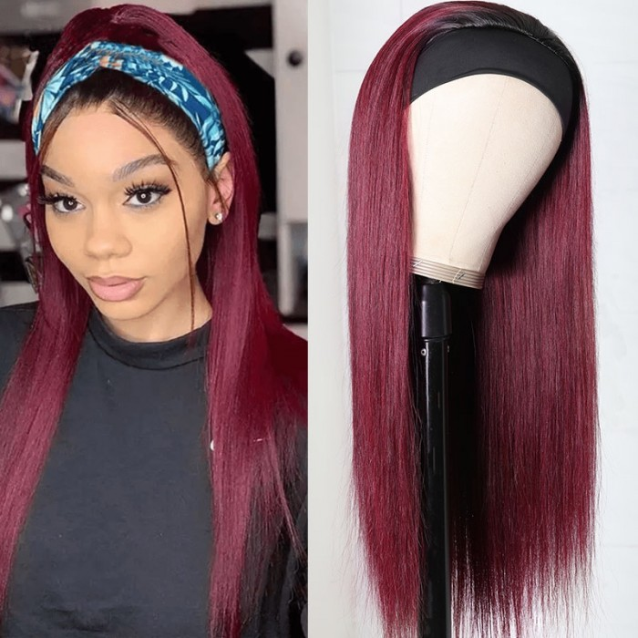 Flash Deal: UNice Ombre 99j Wine Red Color Straight Human Hair Headband Wig With Black Roots Bettyou Series