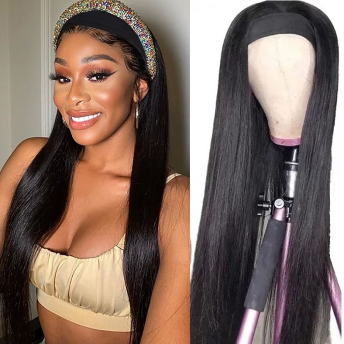 Wear & Go Straight Headband Wig 150% Density Beginner and Lazy Girl Friendly