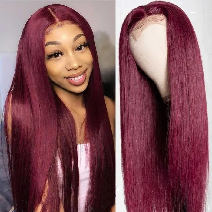 Plus VIP Offer UNice Hair 99j Lace Part Human Hair Wigs Burgundy Virgin Straight 16 Inch Hand Tied Hair Line Lace Wig 150% Density